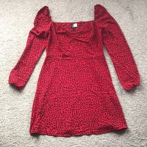 NWOT H&M red cheetah print dress
